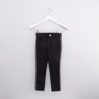 Solid Jeans with Glitter Tape Detail and Button Closure