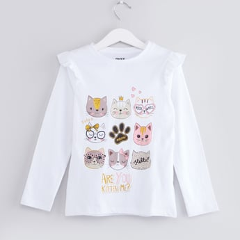 Cat Print T-shirt with Round Neck and Long Sleeves