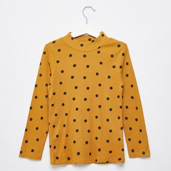 Polka Dot Print T-shirt with High Neck and Long Sleeves