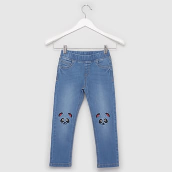 Panda Embroidered Jeggings with Elasticated Waistband
