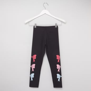 Bow Print Leggings with Elasticised Waistband