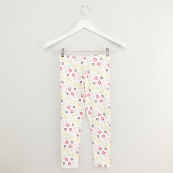 Floral Print Leggings with Elasticised Waistband