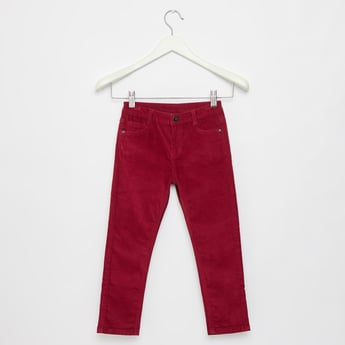 Full Length Corduroy Pants with Pocket Detail and Belt Loops