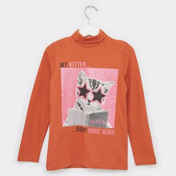 Glitter Embellished Turtle Neck T-shirt with Long Sleeves