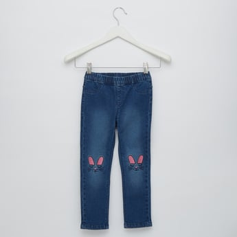 Full Length Embroidered Jeggings with Pockets and Elasticated Waist