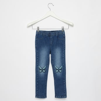 Butterfly Embroidered Detail Jeggings with Elasticised Waistband