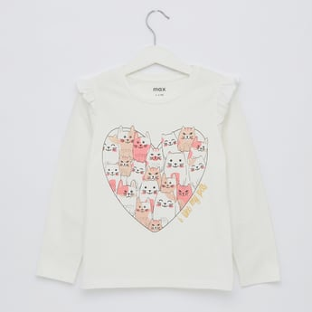 I Love My Pets Printed Top with Round Neck and Long Sleeves