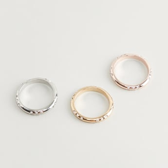 Set of 3 - Crystal Studded Ring