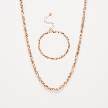 Twist Pattern Necklace and Bracelet Set