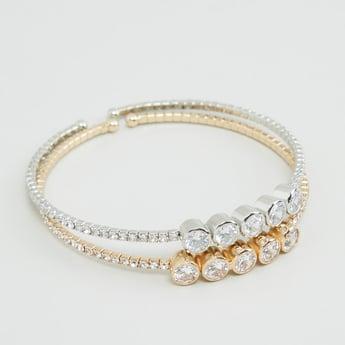 Set of 2 - Studded Adjustable Cuff Bracelet