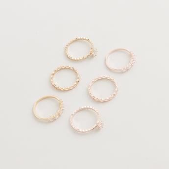 Set of 6 - Studded Finger Rings