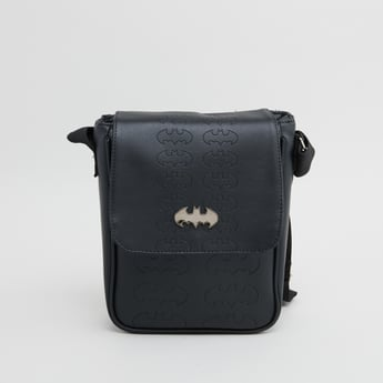 Batman Textured Messenger Bag with Adjustable Strap