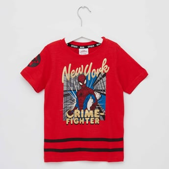Spiderman Print T-shirt with Round Neck and Short Sleeves