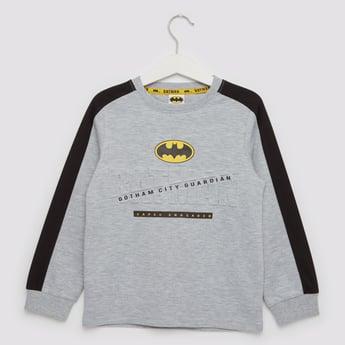 Batman Embossed Print Sweatshirt with Long Sleeves