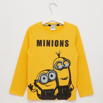 Minions Print Round Neck T-shirt with Long Sleeves