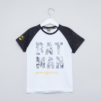 Batman Print Round Neck T-shirt with Raglan Sleeves