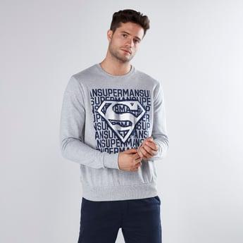 Superman Printed Sweatshirt with Long Sleeves