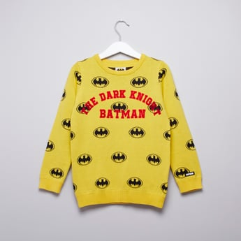 Batman Printed Sweater with Round Neck and Long Sleeves