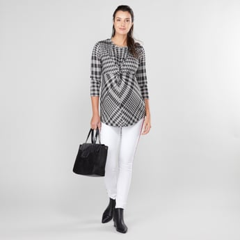 Maternity Chequered Top with Round Neck and 3/4 Sleeves
