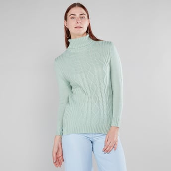 Textured Sweater with Turtle Neck and Long Sleeves