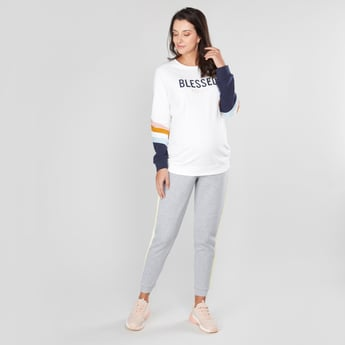 Maternity Embroidered Sweatshirt with Round Neck and Long Sleeves
