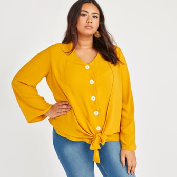 Solid Top with V-neck and Long Sleeves