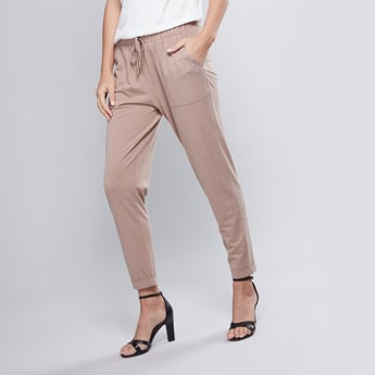 Full Length Plain Pants with Pocket Detail and Drawstring