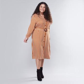Striped Midi Shirt Dress with Fabric Belt