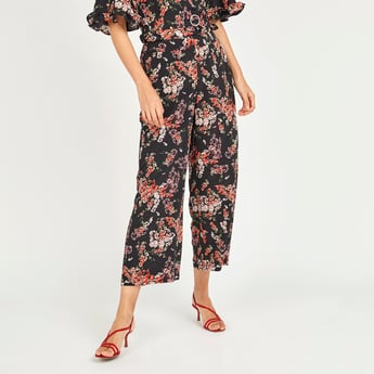 Floral Print Mid-Rise Palazzo Pants with Pocket Detail