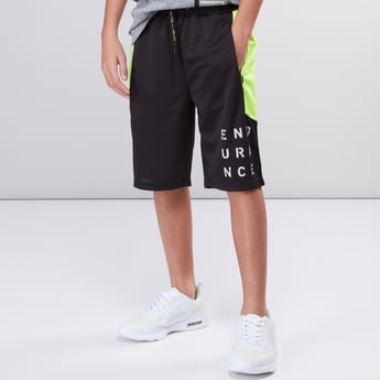 Printed Shorts with Side Panel Detail and Drawstring Closure