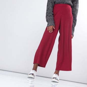 Ribbed Culottes with Elasticised Waistband with Button Detail