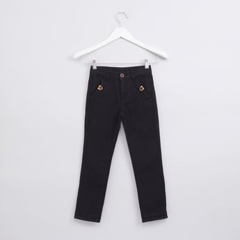 Full Length Textured Pants with Button Closure and Pocket Detail