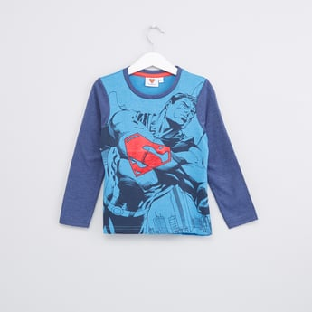 Superman Printed T-Shirt with Round Neck and Long Sleeves