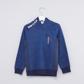 Melange Printed Long Sleeves Sweatshirt