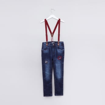 بنطال جينز طويل مطرز بزر إغلاق وحمّالات