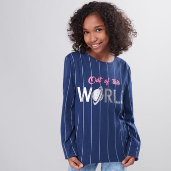 Striped Round Neck Long Sleeves T-Shirt