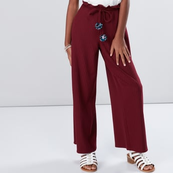 Ribbed Culottes with Pom-Pom Detail Tie Ups