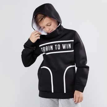 Printed Sweatshirt with Hood and Long Sleeves