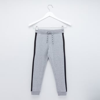 Full Length Textured Joggers with Tape Detail and Drawstring Closure