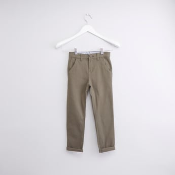 Solid Pants with Pocket Detail and Button Closure
