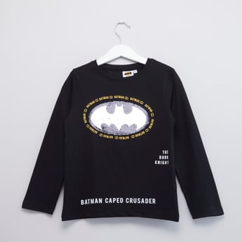 Batman Sequin Detail T-shirt with Round Neck and Long Sleeves