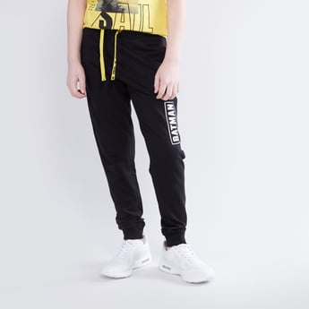 Batman Printed Cuffed Joggers with Drawstring Closure