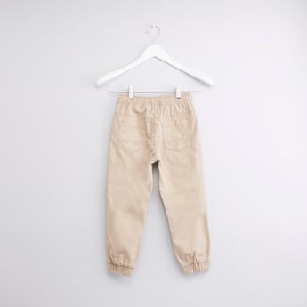 Solid Joggers with Drawstring Closure and Cuffed Hem