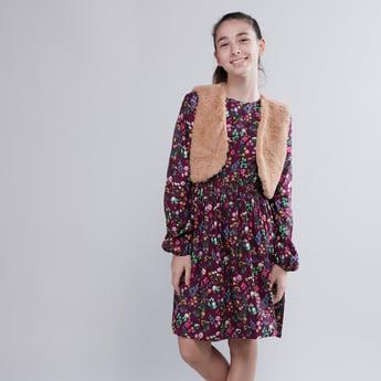 Printed Dress with Smocking Detail and Plush Gilet Jacket