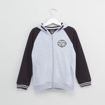 Textured Hooded Sweatshirt with Long Sleeves and Zip Closure