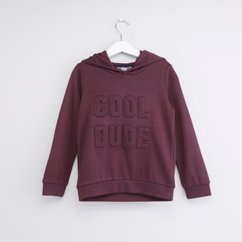 Textured Text Embossed Hoodie with Long Sleeves