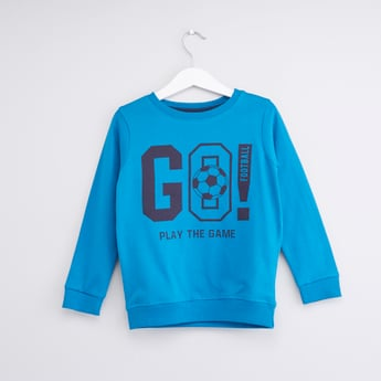 Graphic Print Round Neck Sweatshirt with Long Sleeves