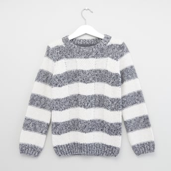 Fancy Striped Round Neck Jacquard Sweater