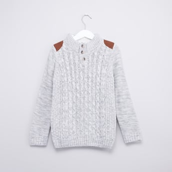 Textured Sweater with Shoulder Patches and Long Sleeves