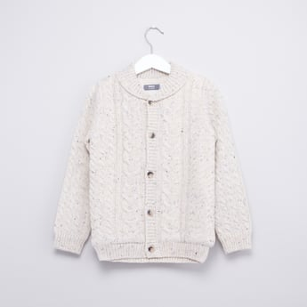 Textured Sweater with Long Sleeves and Button Closure